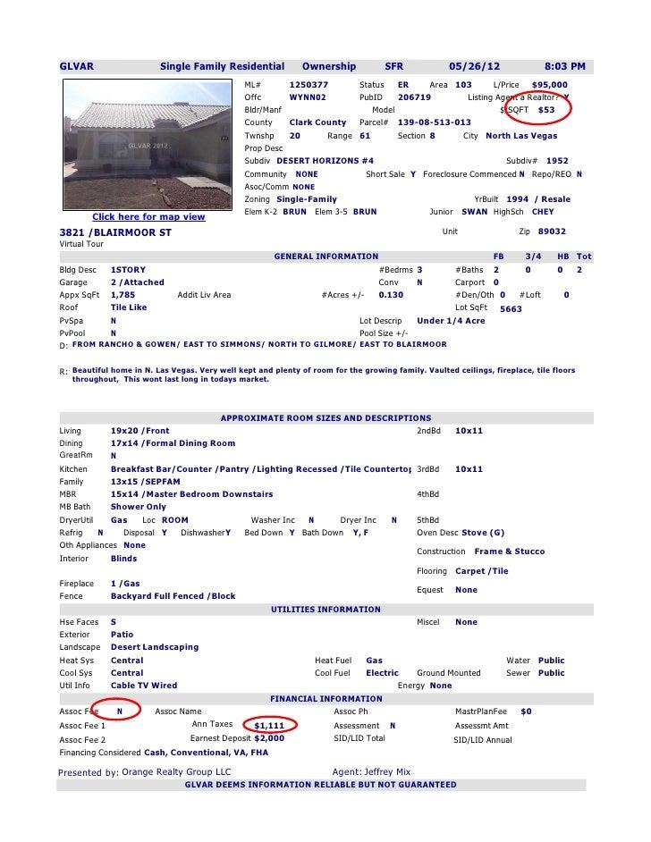 GLVAR                    Single Family Residential            Ownership             SFR             05/26/12              ...