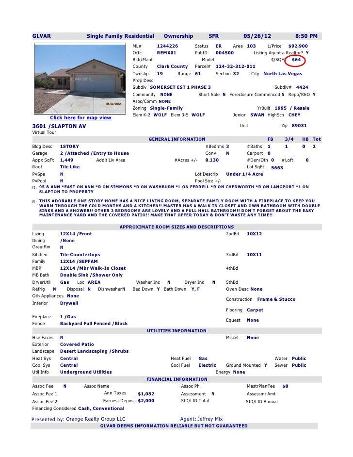 Las Vegas Realtor   Comparable sales on Slapton Ave North Las Vegas
