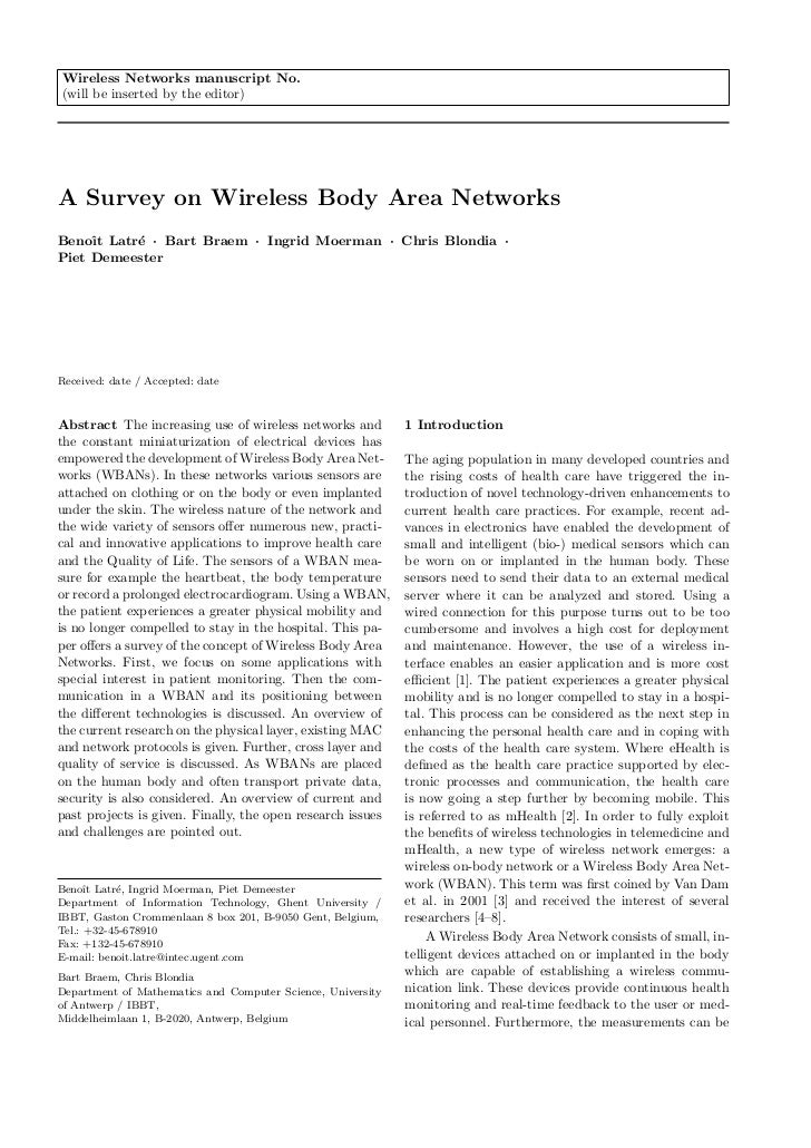 Wireless Networks manuscript No.(will be inserted by the editor)A Survey on Wireless Body Area NetworksBenoˆ Latr´ · Bart ...
