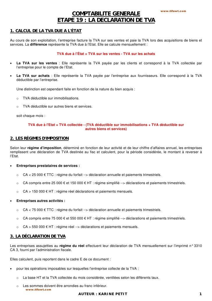 www.tifawt.com                                  COMPTABILITE GENERALE                              ETAPE 19 : LA DECLARATI...