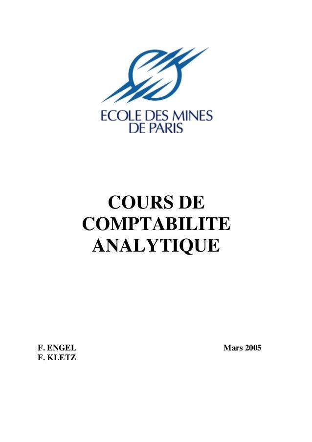 COURS DE COMPTABILITE ANALYTIQUE  F. ENGEL F. KLETZ  Mars 2005