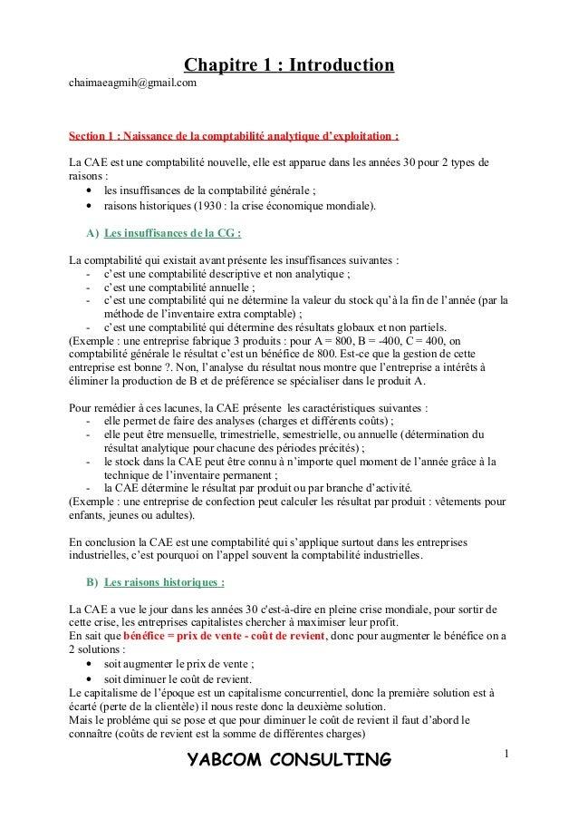 Chapitre 1 : Introduction chaimaeagmih@gmail.com Section 1 : Naissance de la comptabilité analytique d'exploitation : La C...