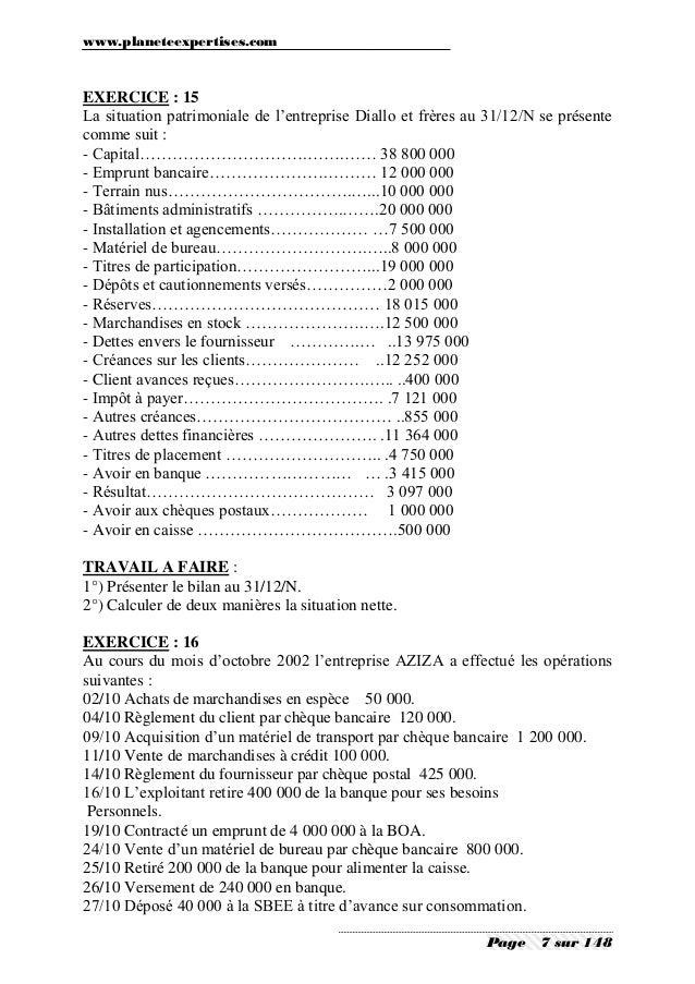 Comptabilite generale les operations courante exercices - Materiel de bureau comptabilite ...