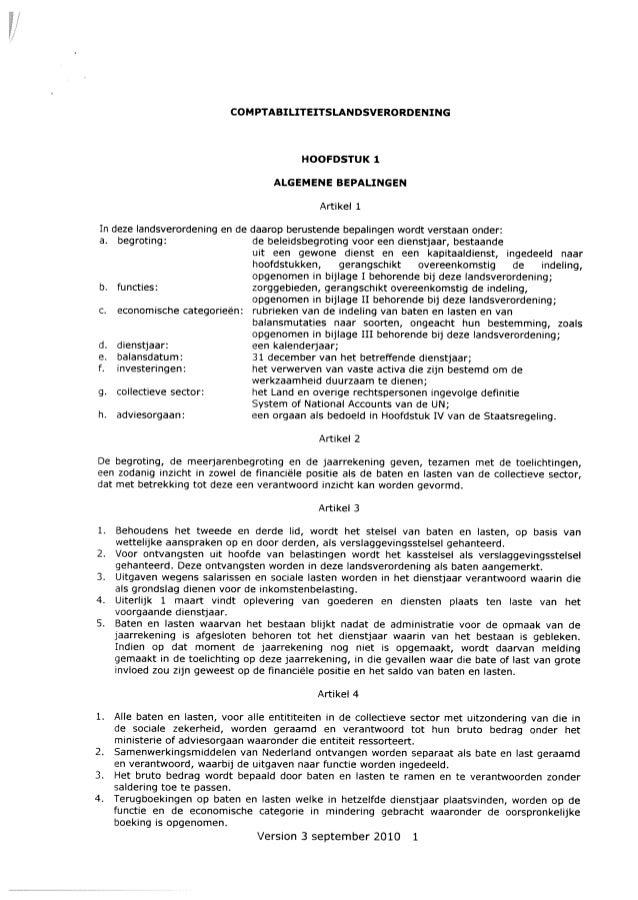 COMPTABIUTEITSLANDSVERORDENING HOOFDSTUK 1 ALGEMENE BEPAUNGEN Artikel 1 d. dienstjaar: e. baJansdatum: f. investeringen: I...