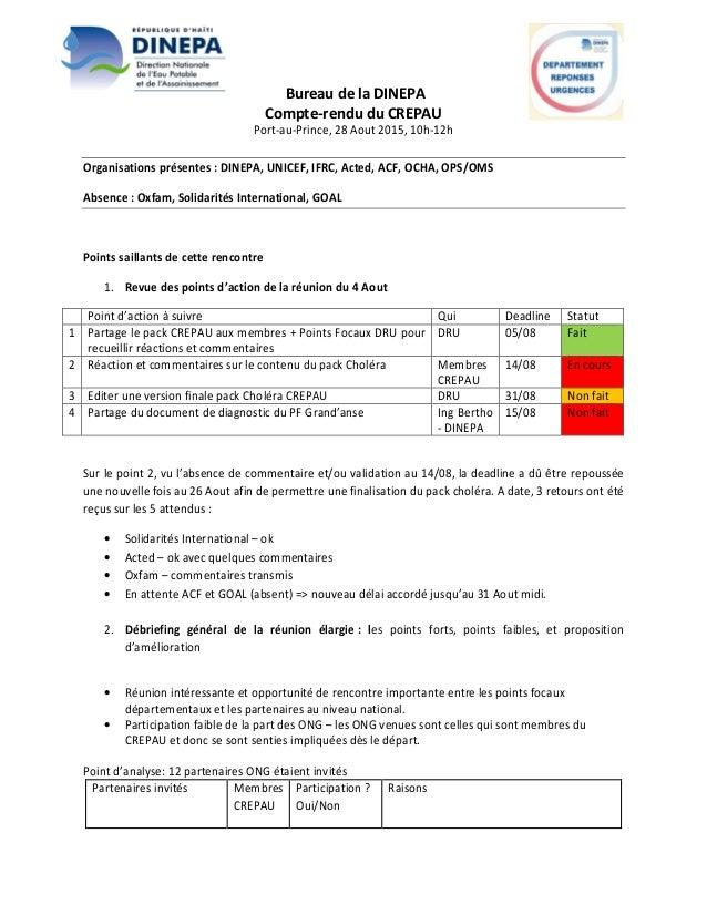 Bureau de la DINEPA Compte-rendu du CREPAU Port-au-Prince, 28 Aout 2015, 10h-12h Organisations présentes : DINEPA, UNICEF,...