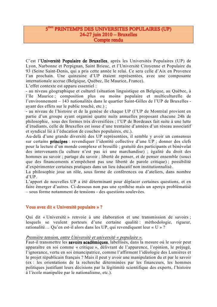 5ÈME PRINTEMPS DES UNIVERSITES POPULAIRES (UP)                        24-27 juin 2010 – Bruxelles                         ...