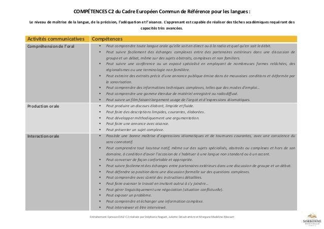Compétences dalf c2