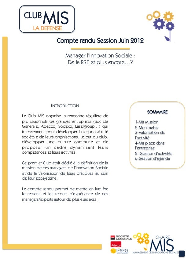 CLUB 	             MIS      LA DEFENSE	                     Compte rendu Session Juin 2012                        Manager ...