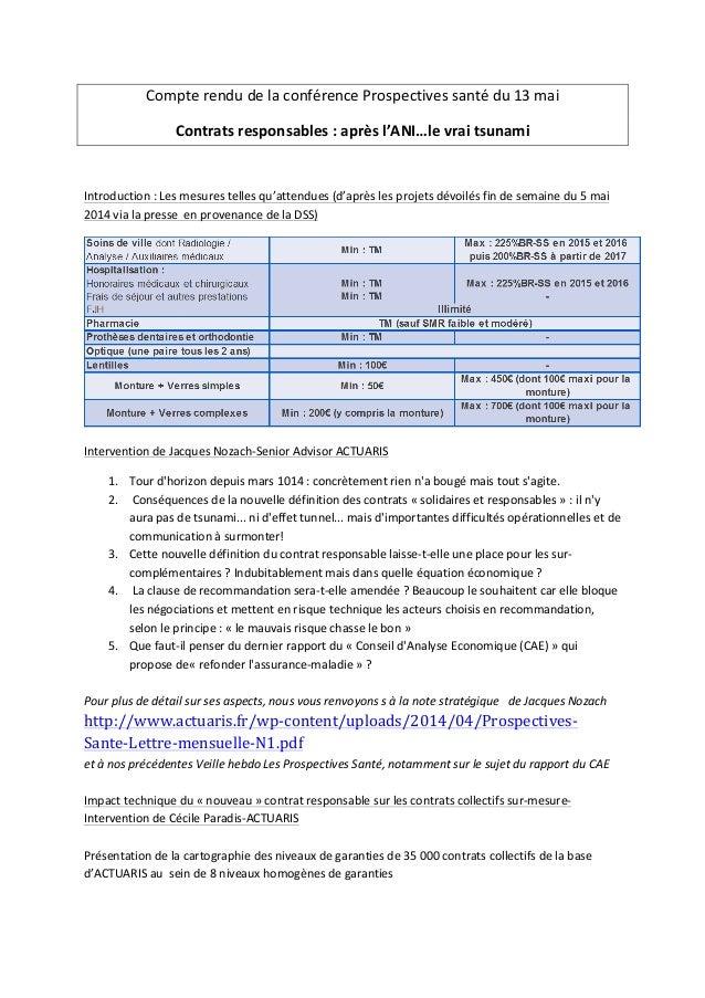 Compte  rendu  de  la  conférence  Prospectives  santé  du  13  mai     Contrats  responsables  ...