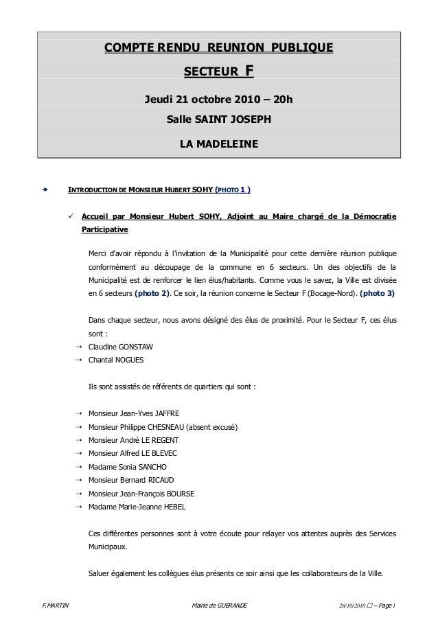 F.MARTIN Mairie de GUERANDE 28/10/2010 – Page 1 COMPTE RENDU REUNION PUBLIQUE SECTEUR F Jeudi 21 octobre 2010 – 20h Salle ...