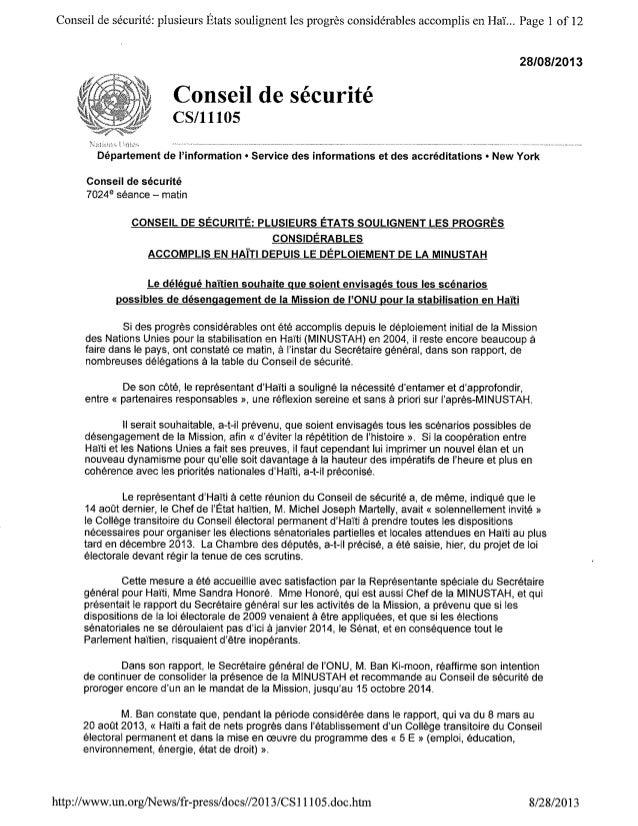 Compte Rendu de la Reunion du Conseil de Sécurité des Nations Unies sur Haiti