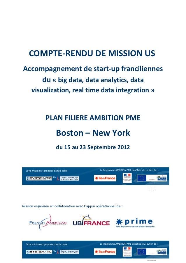 COMPTE-RENDU DE MISSION USAccompagnement de start-up franciliennes     du « big data, data analytics, data       visualiza...