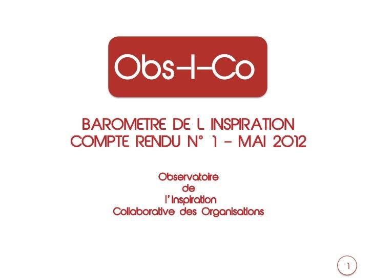 Obs-I-Co BAROMETRE DE L INSPIRATIONCOMPTE RENDU N 1 ‒ MAI 2012             Observatoire                    de             ...