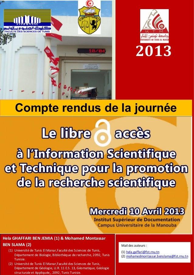 2013Compte rendus de la journéed'étudeHela GHAFFARI BEN JEMIA (1) & Mohamed MontassarBEN SLAMA (2)(1) Université de Tunis ...
