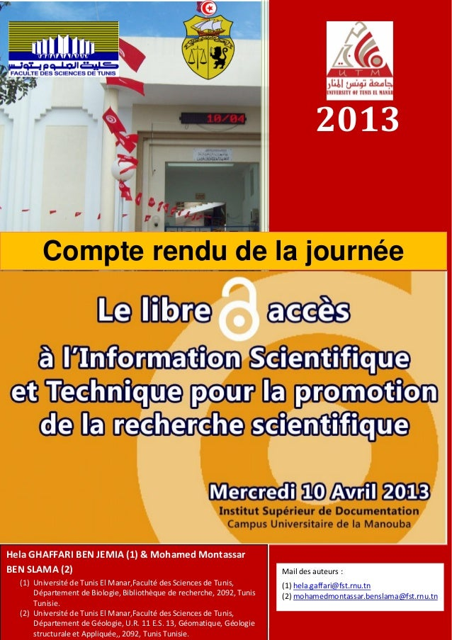 2013Compte rendu de la journéed'étudeHela GHAFFARI BEN JEMIA (1) & Mohamed MontassarBEN SLAMA (2)(1) Université de Tunis E...