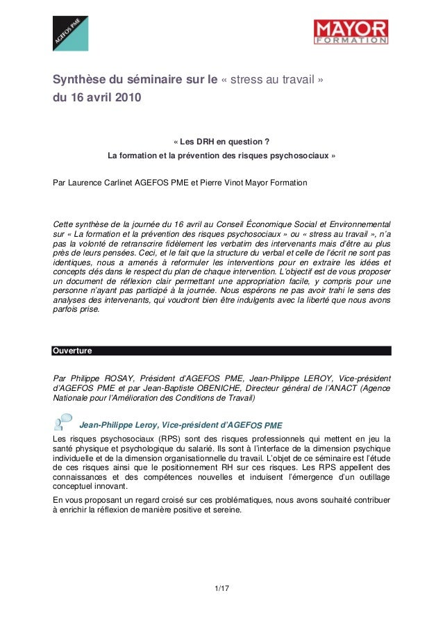 1/17 Synthèse du séminaire sur le « stress au travail » du 16 avril 2010 « Les DRH en question ? La formation et la prév...
