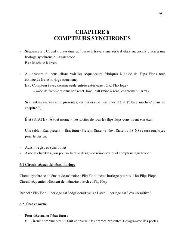 95                             CHAPITRE 6                        COMPTEURS SYNCHRONES-   Séquenceur : Circuit ou système q...