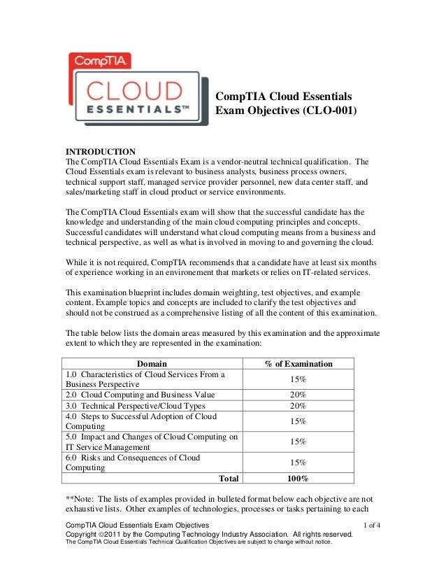CompTIA Cloud Essentials Objectives