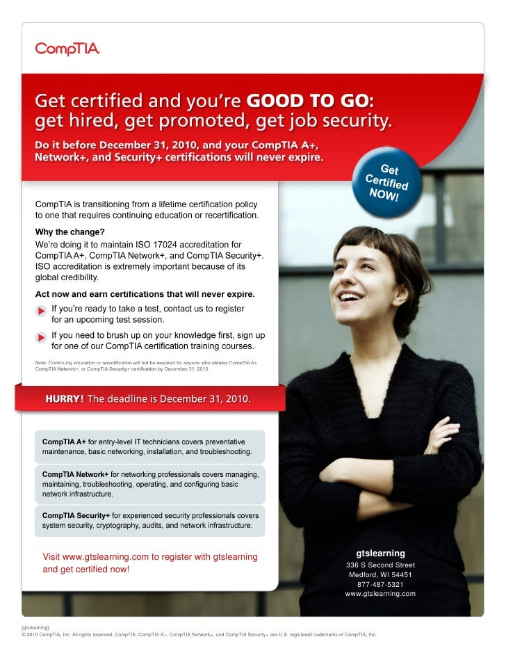 CompTIA Lifetime Certification Expires December 31, 2010