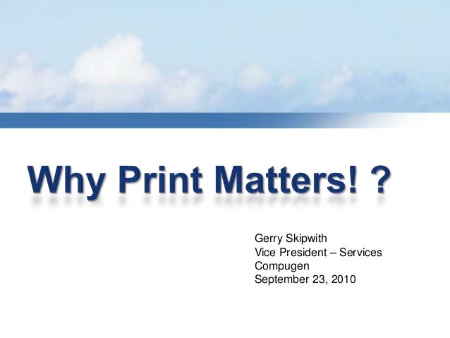 Gerry Skipwith Vice President – Services Compugen September 23, 2010