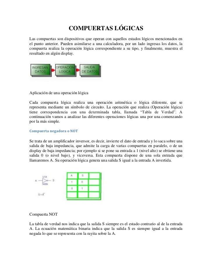 COMPUERTAS LÓGICASLas compuertas son dispositivos que operan con aquellos estados lógicos mencionados enel punto anterior....