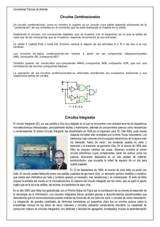 Universidad Técnica de Ambato  Circuitos Combinacionales Un circuito combinacional, como su nombre lo sugiere es un circui...