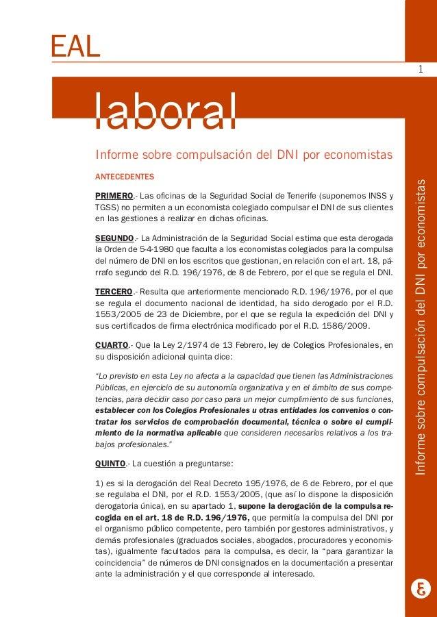 Informe sobre compulsación del DNI por economistas ANTECEDENTES PRIMERO.- Las oficinas de la Seguridad Social de Tenerife ...