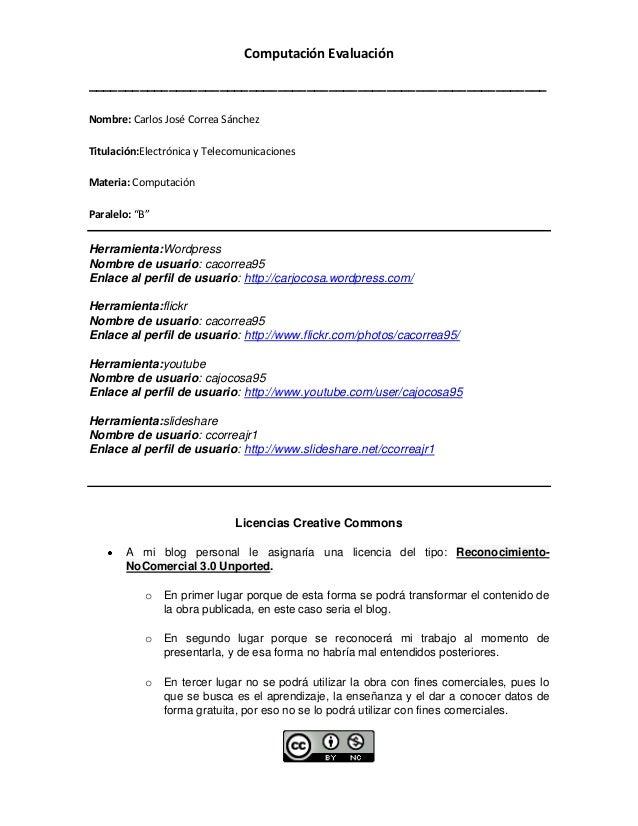 Computación Evaluación_______________________________________________________________Nombre: Carlos José Correa SánchezTit...