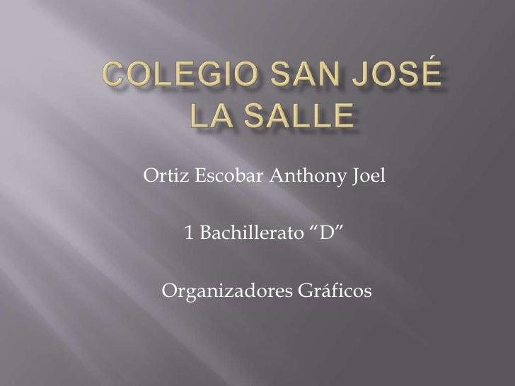 """Colegio San José la salle<br />Ortiz Escobar Anthony Joel<br />1 Bachillerato """"D""""<br /> Organizadores Gráficos<br />"""