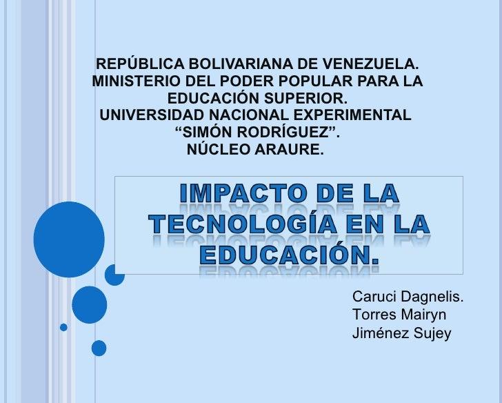 REPÚBLICA BOLIVARIANA DE VENEZUELA. MINISTERIO DEL PODER POPULAR PARA LA EDUCACIÓN SUPERIOR. UNIVERSIDAD NACIONAL EXPERIME...