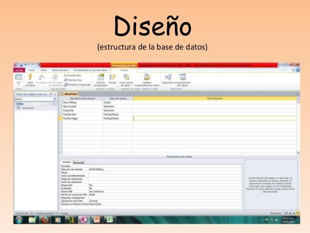 Diseño(estructura de la base de datos)´