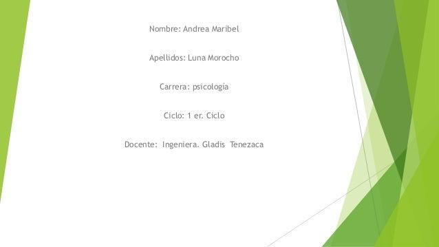 Nombre: Andrea Maribel Apellidos: Luna Morocho Carrera: psicología Ciclo: 1 er. Ciclo Docente: Ingeniera. Gladis Tenezaca