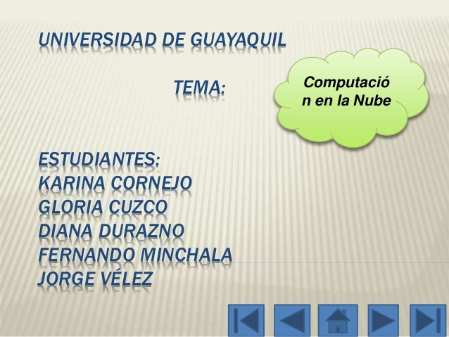 UNIVERSIDAD DE GUAYAQUIL TEMA: ESTUDIANTES: KARINA CORNEJO GLORIA CUZCO DIANA DURAZNO FERNANDO MINCHALA JORGE VÉLEZ Comput...