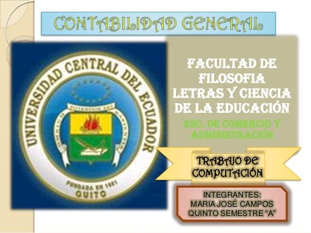 FACULTAD DE    FILOSOFIALETRAS Y CIENCIADE LA EDUCACIÓN ESC. DE COMERCIO Y  ADMINISTRACIÓN   TRABAJO DE  COMPUTACIÓN     I...