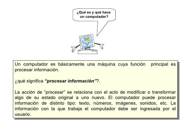 """Un computador es básicamente una máquina cuya función  principal es procesar información. ¿qué significa  """"procesar inform..."""