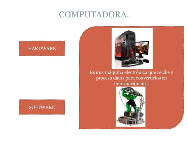 COMPUTADORA. Es una máquina electrónica que recibe y procesa datos para convertirlos en información útil. HARDWARE SOFTWARE