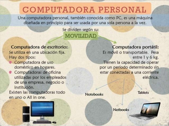 COMPUTADORA PERSONAL    Una computadora personal, también conocida como PC, es una máquina      diseñada en principio para...