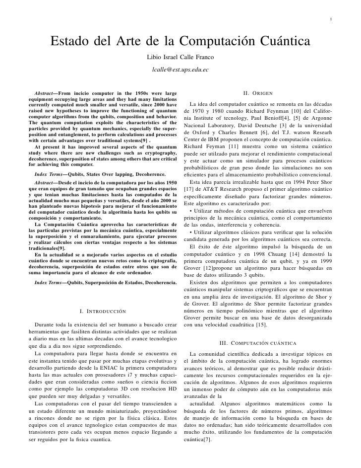 1         Estado del Arte de la Computación Cuántica                                                     Libio Israel Call...
