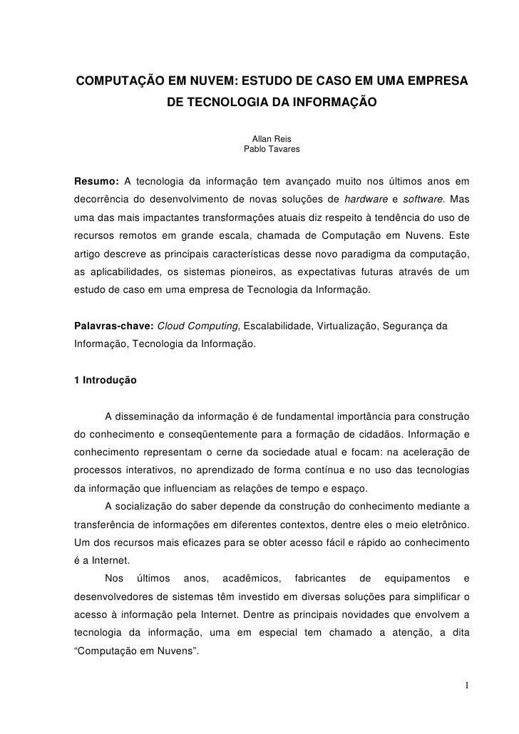 COMPUTAÇÃO EM NUVEM: ESTUDO DE CASO EM UMA EMPRESA DE TECNOLOGIA DA INFORMAÇÃO
