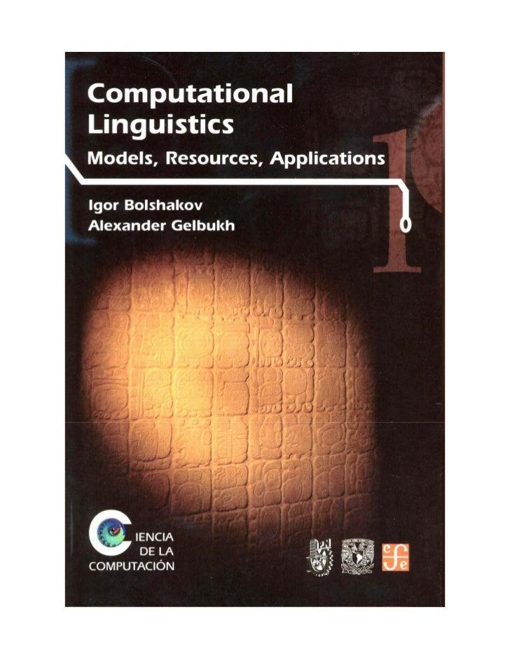 CIENCIA DE LA COMPUTACIÓN_________________________________________________________      COMPUTATIONAL LINGUISTICS       Mo...