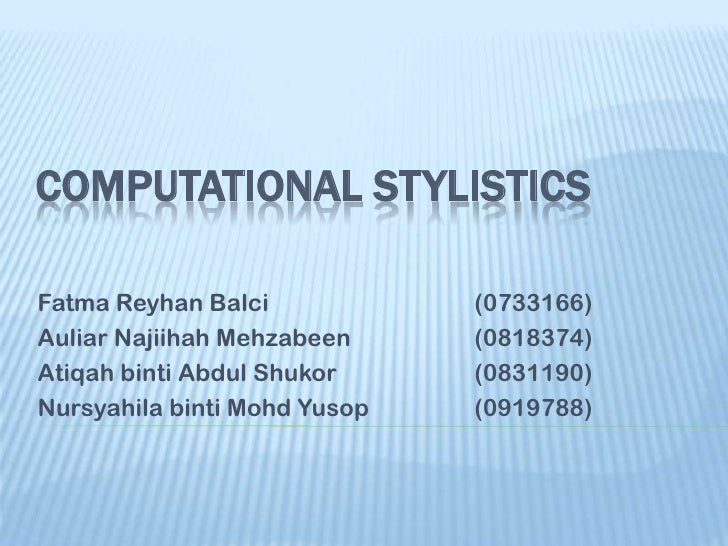 Computational stylistics ppt