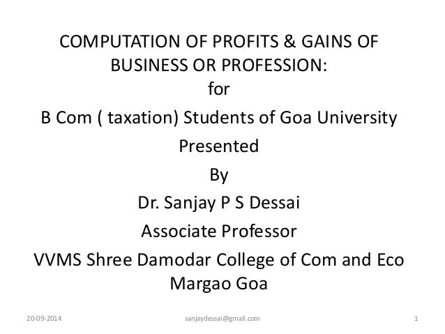 profit and gains of business or profession pdf