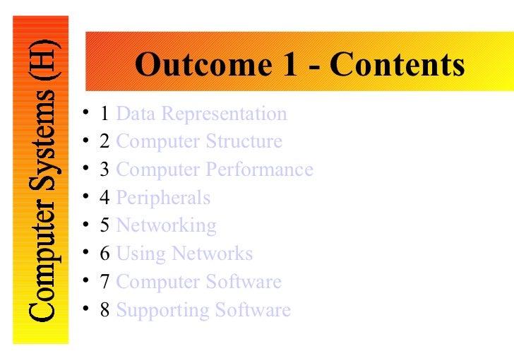 Outcome 1 - Contents <ul><li>1  Data Representation </li></ul><ul><li>2  Computer Structure </li></ul><ul><li>3  Computer ...