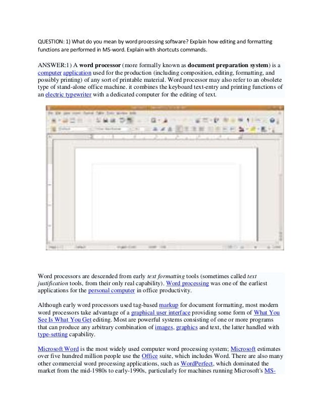 Word processing assignments