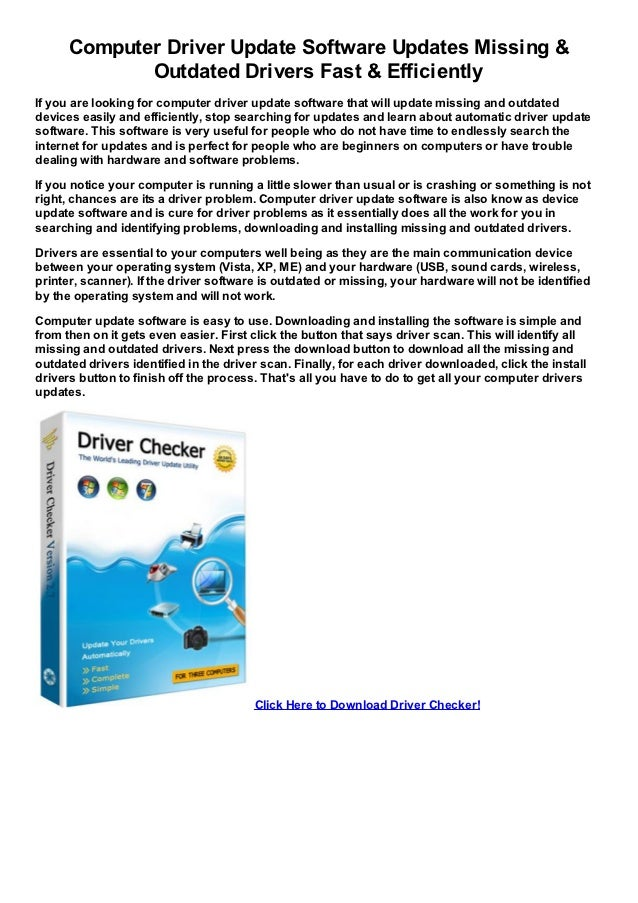 Computer Driver Update Software Updates Missing &             Outdated Drivers Fast & EfficientlyIf you are looking for co...