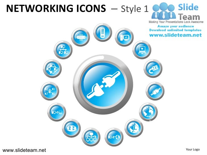 Computer ethernet networking icons style design 1 powerpoint presentation templates.