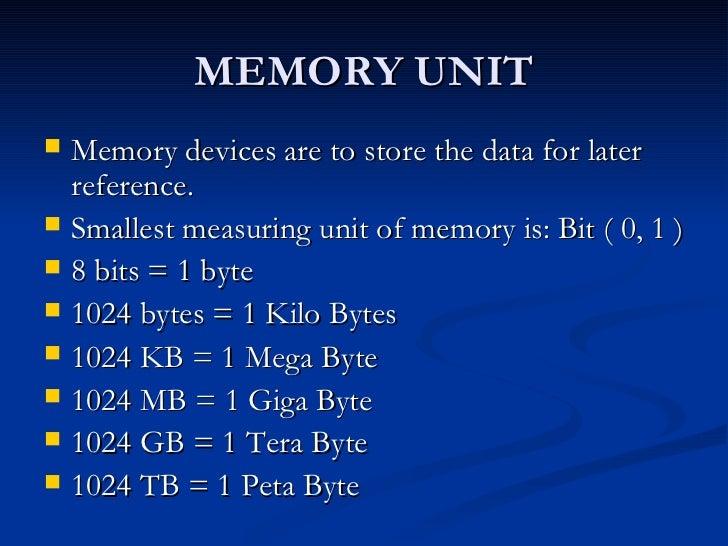 Unit Computer Memory Memory Unit Memory