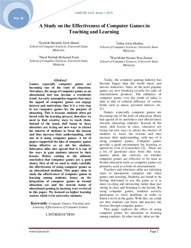 IJASCSE Vol 2, Issue 1, 2013Feb. 28                 A Study on the Effectiveness of Computer Games in                     ...