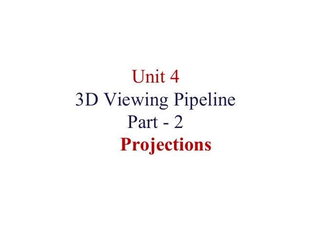 Unit 4 3D Viewing Pipeline Part - 2 Projections