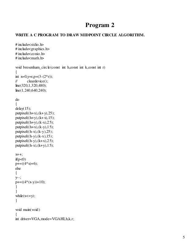 Bresenham Line Drawing Algorithm C Program : Computer graphics lab file c programs